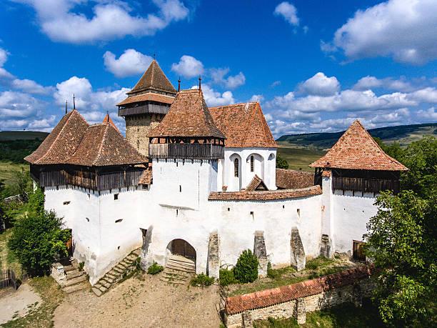 Viscri saxon church in the traditional village of Viscri, Romani stock photo