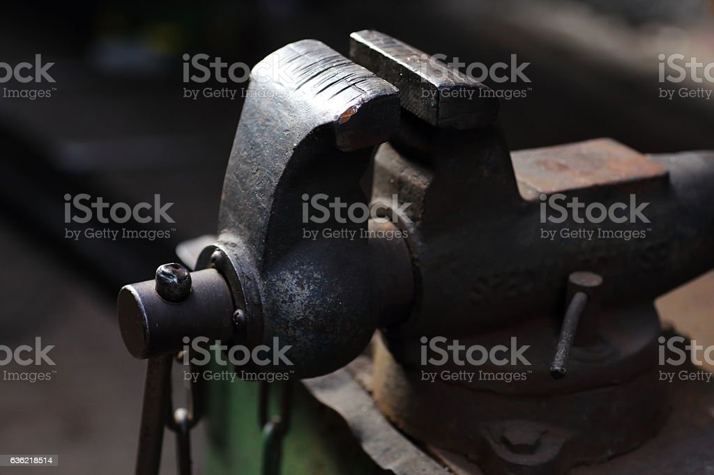 Vise tool in workshop stock photo
