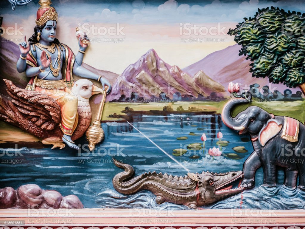 Vishnu in Sri Vadapathira Kaliamman Temple Singapore stock photo