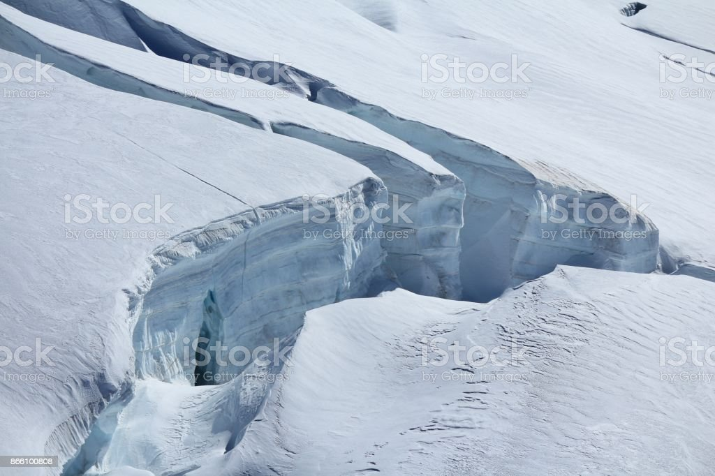 Visible layers of ice and crevasses. stock photo