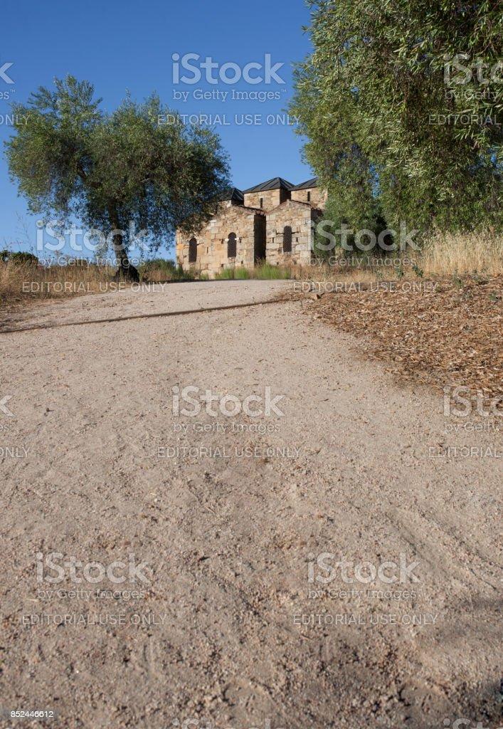 Visigothic Basilica of Santa Lucia del Trampal, Alcuescar, Spain. Outdoors view stock photo
