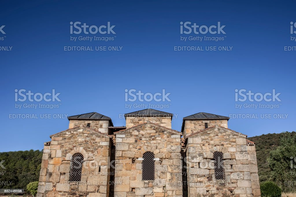 Visigothic Basilica of Santa Lucia del Trampal,  Chapels outdoors view stock photo