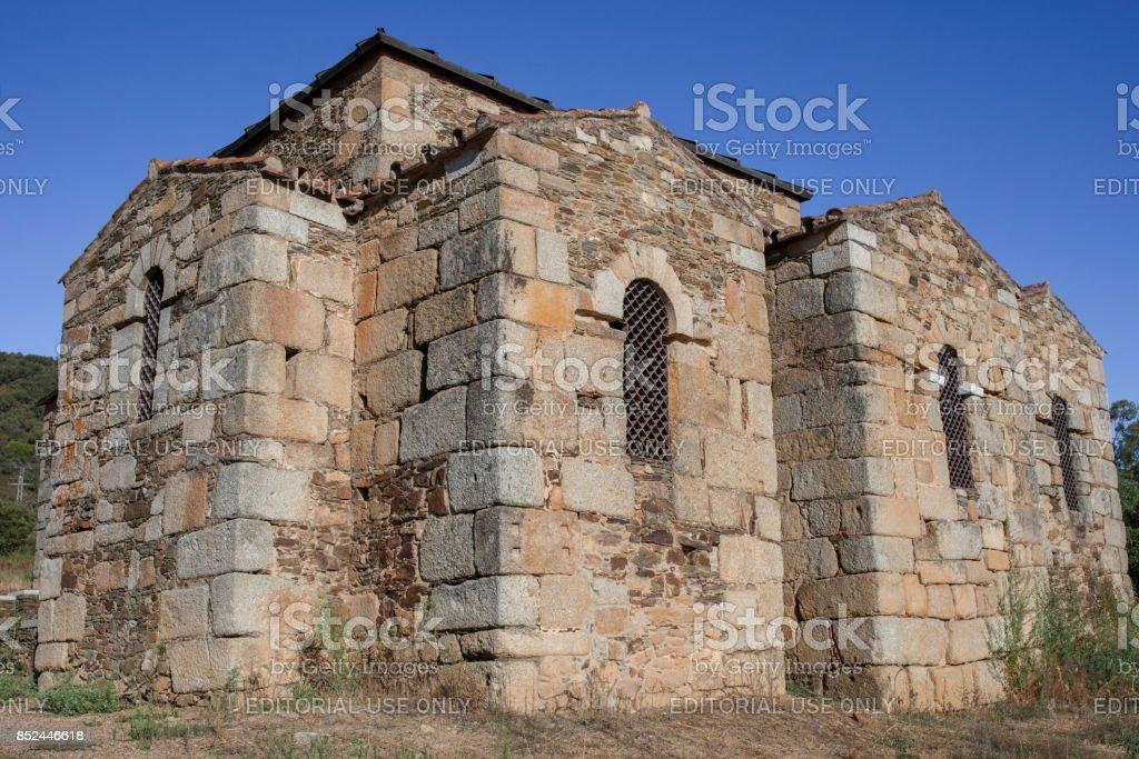 Visigothic Basilica of Santa Lucia del Trampal. Chapels outdoors view stock photo
