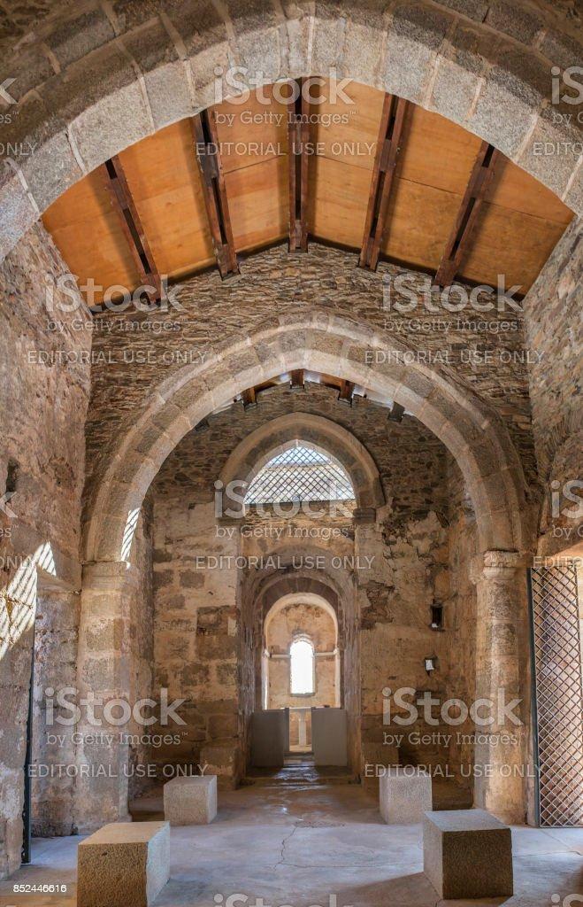 Visigothic Basilica of Santa Lucia del Trampal. Main nave view stock photo