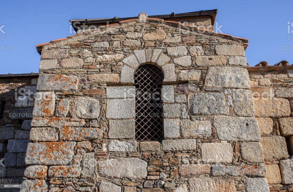 Visigothic Basilica of Santa Lucia del Trampal, Window detail stock photo