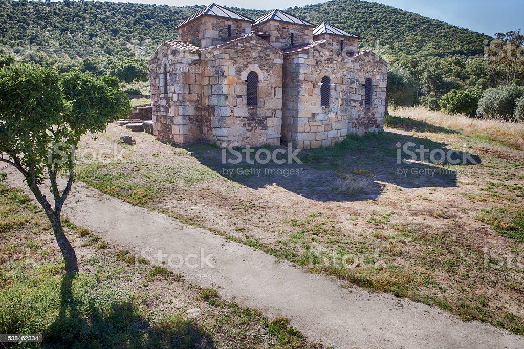 Visigothic church of Santa Lucia del Trampal, Alcuescar, Spain stock photo