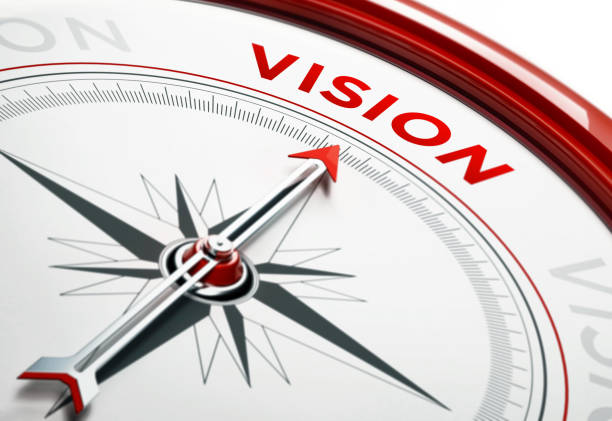 Vision Concept: Arrow of A Compass Pointing Vision Text stock photo