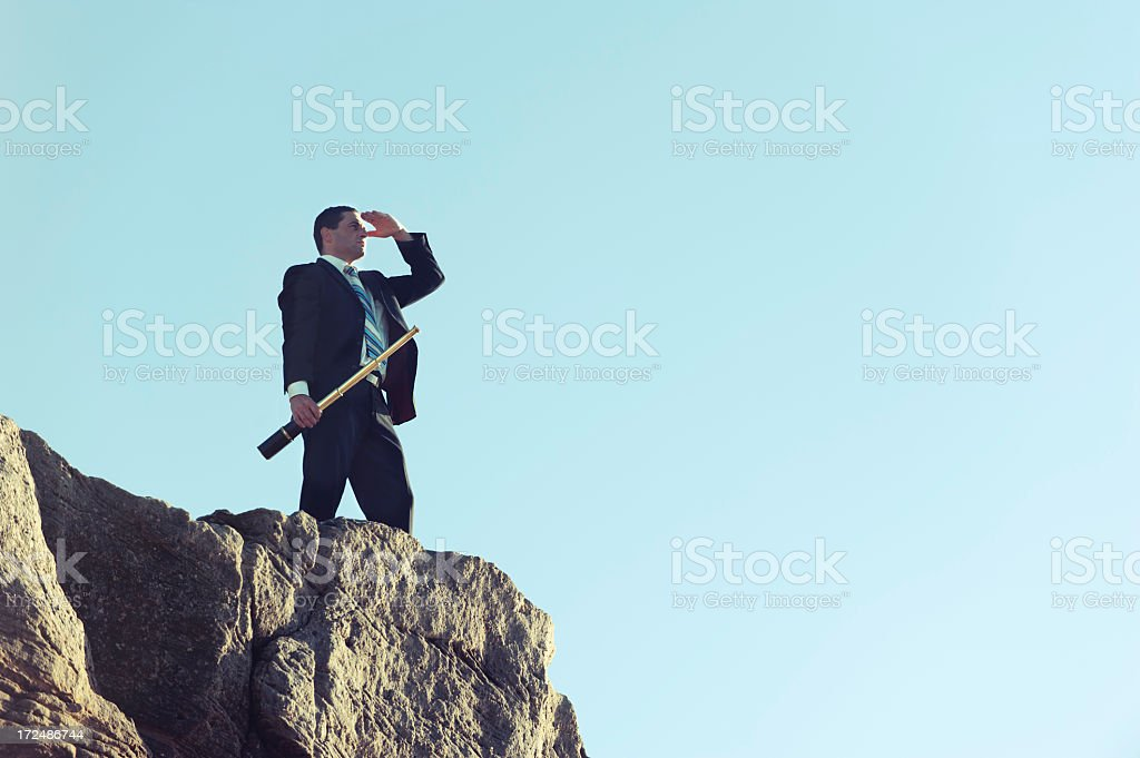 Vision concept. Businessman looking to the future. royalty-free stock photo