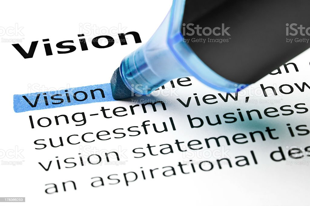 Vision highlighted in blue royalty-free stock photo