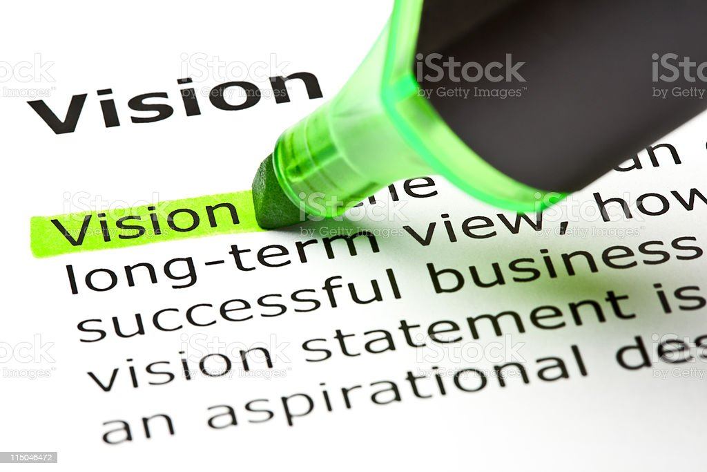 'Vision' highlighted in green stock photo