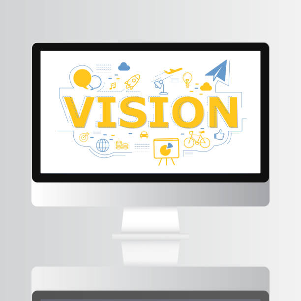 vision icon on computer screen illustration - rocket logo stock photos and pictures