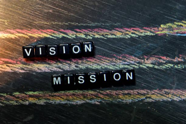 visión misión en bloques de madera. - determinación fotografías e imágenes de stock