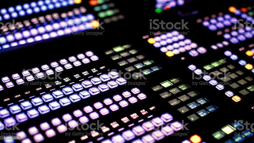 Vision Mixer Desk Tv Broadcast Gallery Room Stock Photo