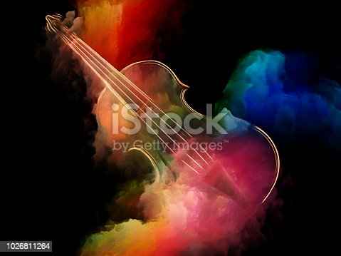 Music Dream series. Composition of violin and abstract colorful paint suitable as a backdrop for the projects on musical instruments, melody, sound, performance arts and creativity