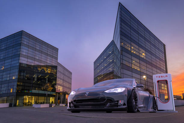 Vision of tuned, sporty Tesla S at the charging point