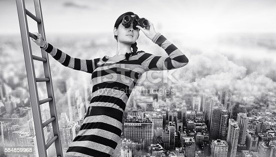 woman with a spyglass on a ladder