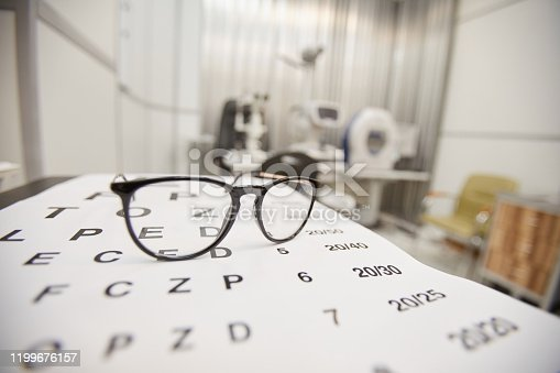 Background image of glasses lying on eye chart in ophthalmology office, vision and eye test concept, copy space