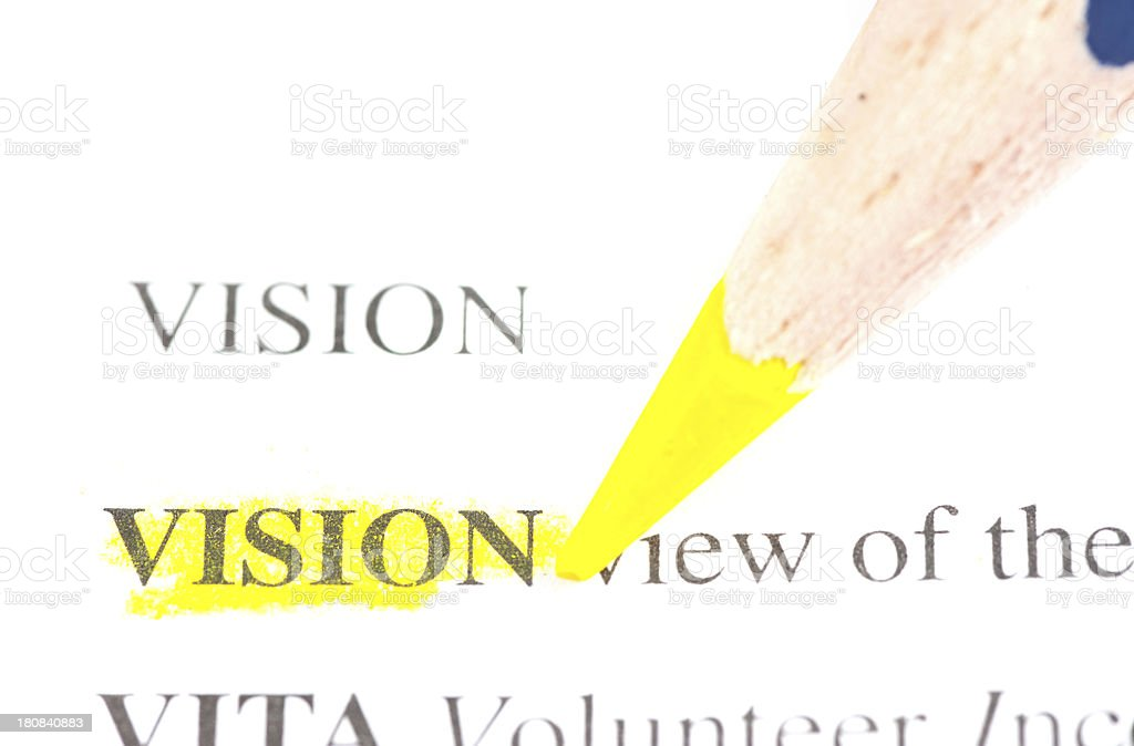 vision word defintion marked in dictionary stock photo
