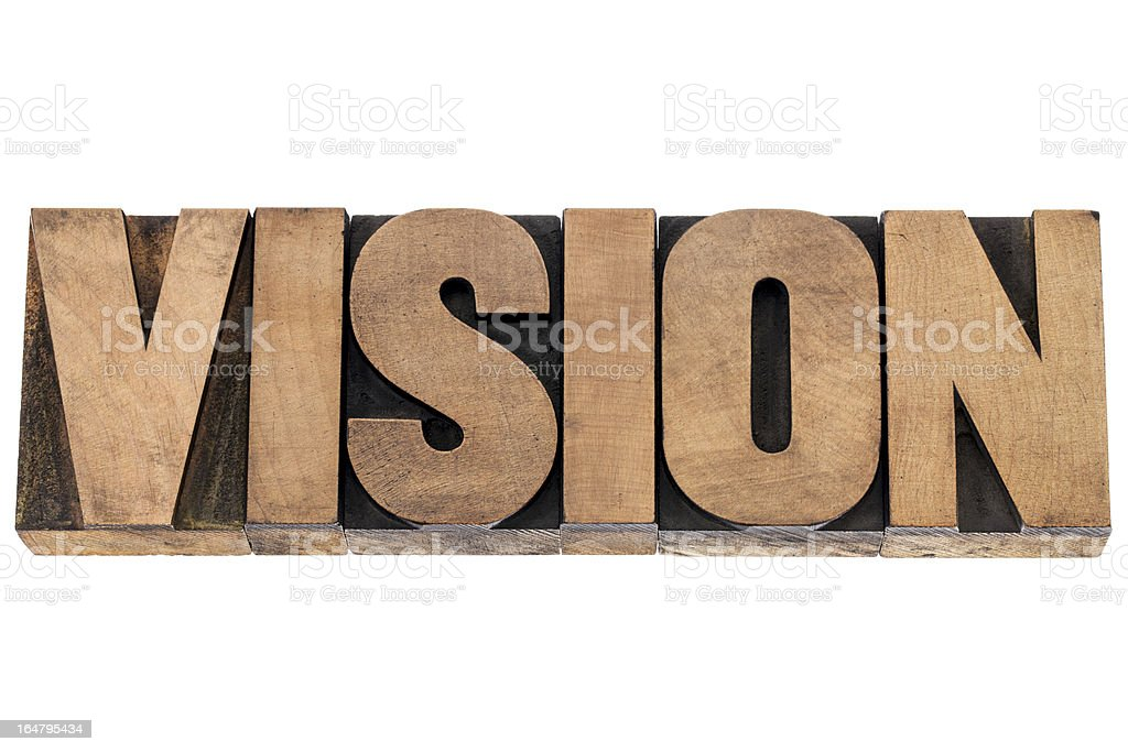 vision word in wood type royalty-free stock photo