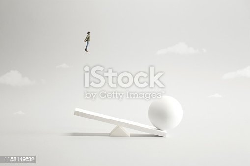 istock visionary business man try to fly high in the sky to get wider point of view, surreal concept 1158149532