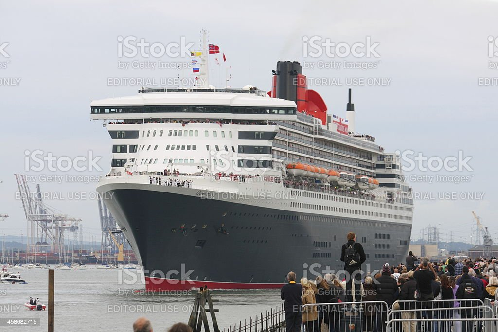Visit of three Cunard Queens to Southampton royalty-free stock photo