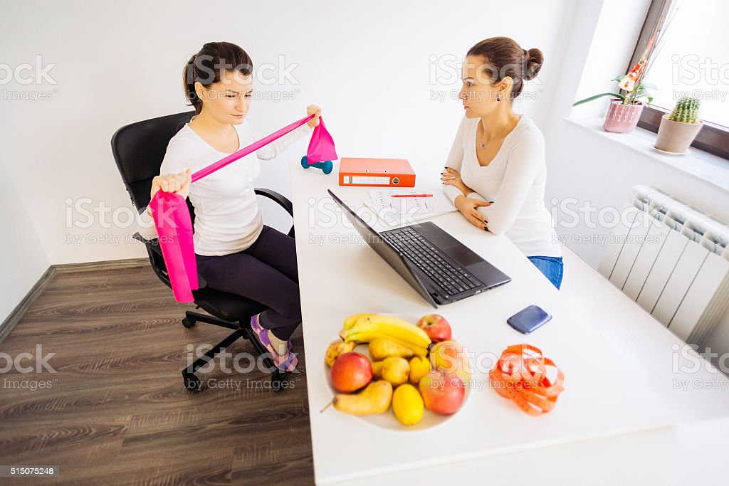 Visit to the nutritionist doctor stock photo