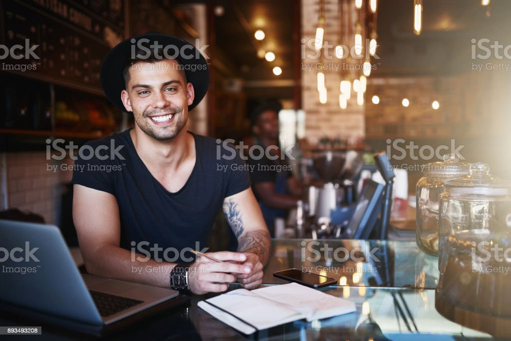 Visit us for an unforgettable coffee experience stock photo