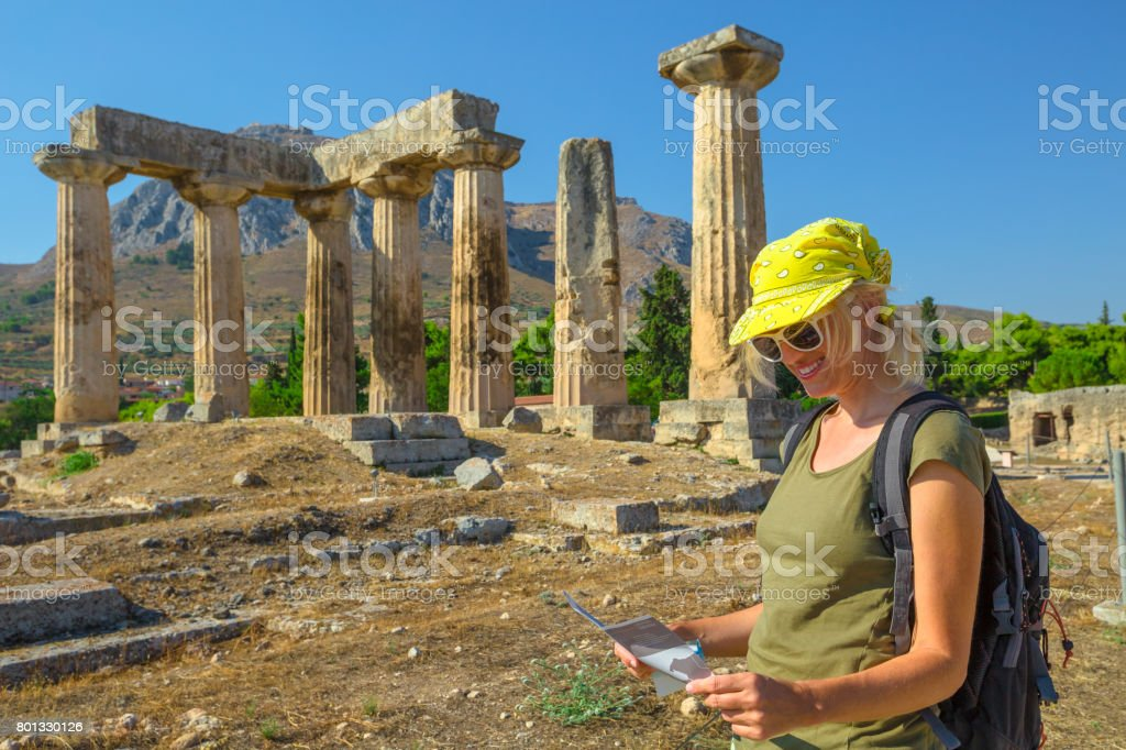 Visiting Ancient Corinth stock photo
