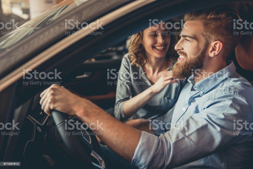 Visiting car dealership stock photo