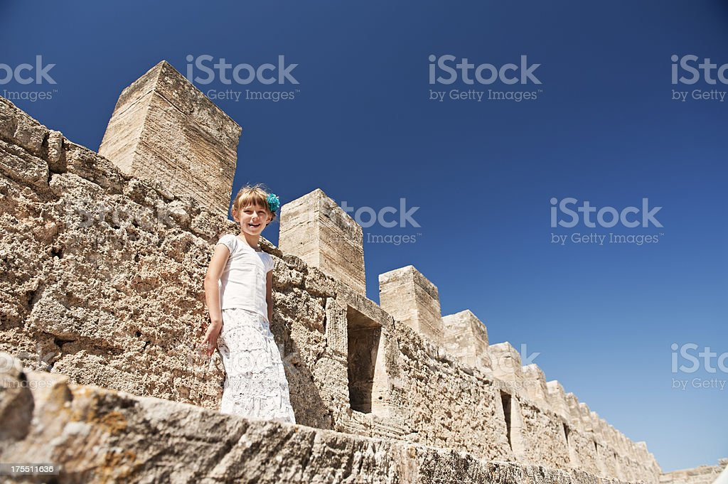 Visiting castle. stock photo