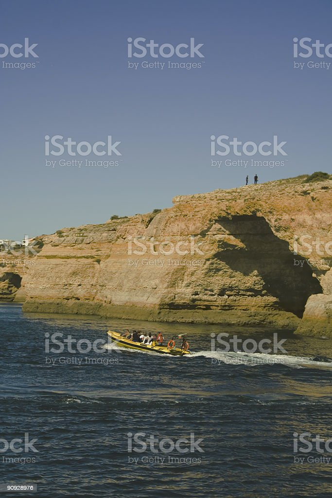Visiting caves, Carvoeiro, Portugal stock photo