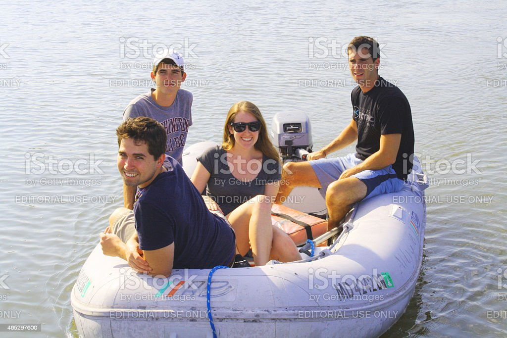 Visiting Friends by Boat stock photo