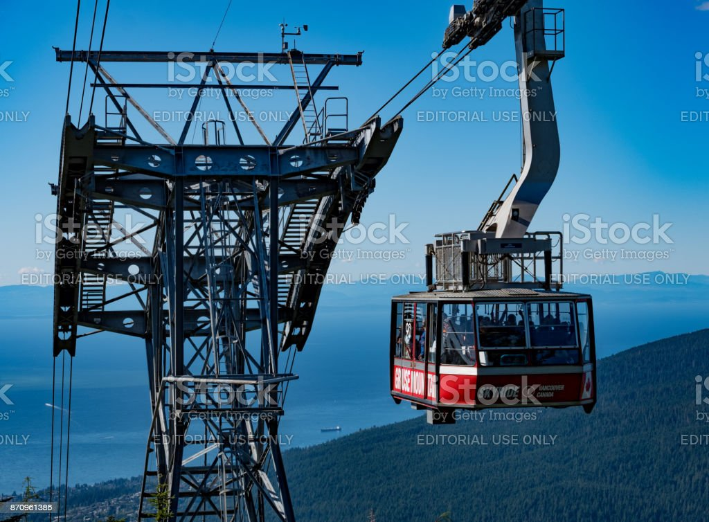 Visiting Grouse Mountain, Vancouver stock photo
