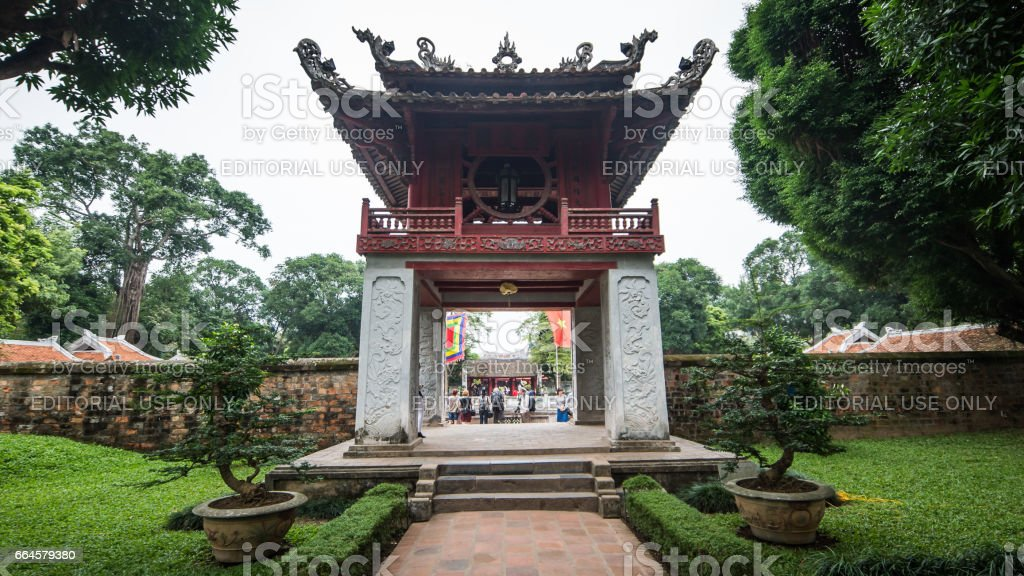 Visiting historic Confucius Temple,The Temple of literature, the center of Hanoi, Vietnam stock photo