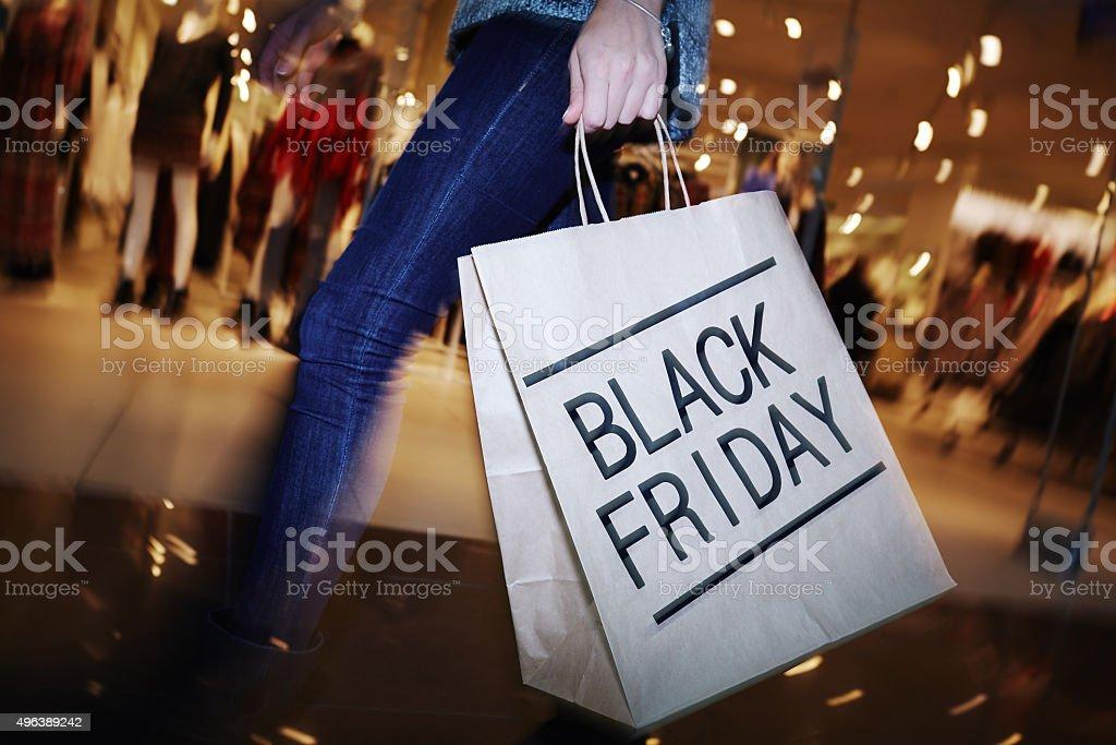 Visiting mall on Black Friday royalty-free stock photo
