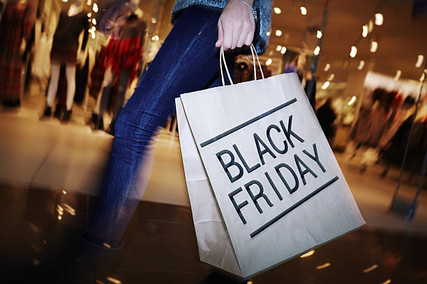 Visiting mall on Black Friday stock photo