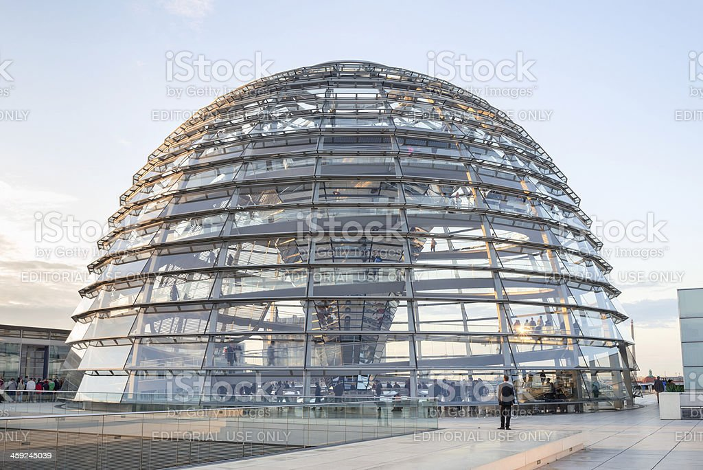 Visiting Reichstag dome, Berlin stock photo