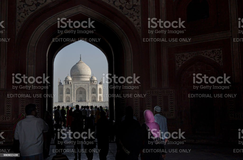 Visiting Taj Mahal, Agra, one of the wonder's of the world stock photo