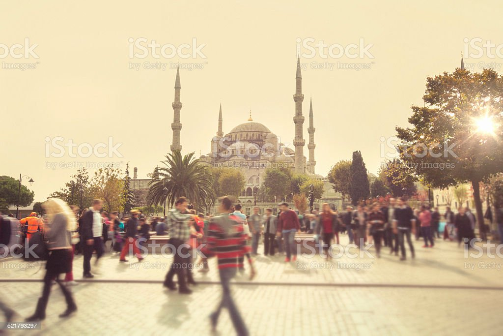 Visiting the Blue Mosque stock photo