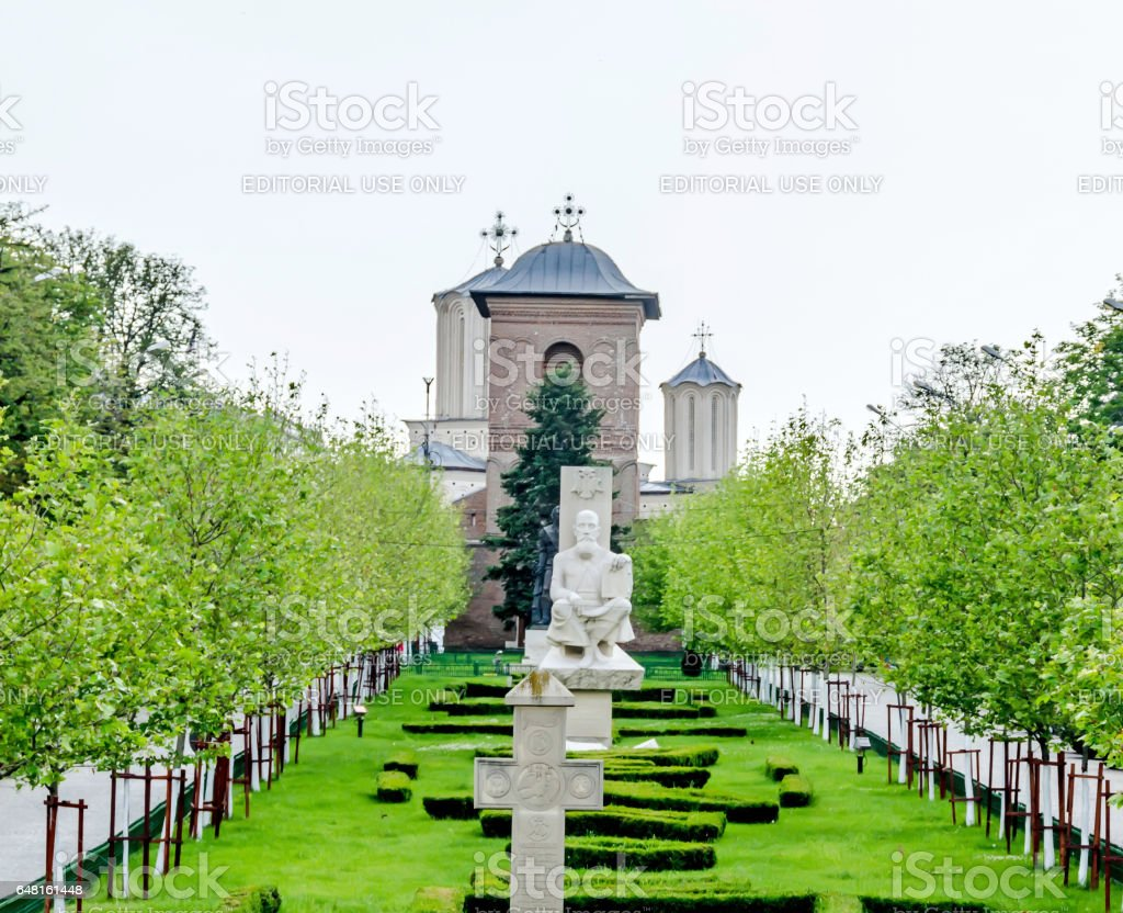 Visiting The hill of Patriarchy, Dealul Mitropoliei from Bucharest. The statue of Serban Cantacuzino. stock photo