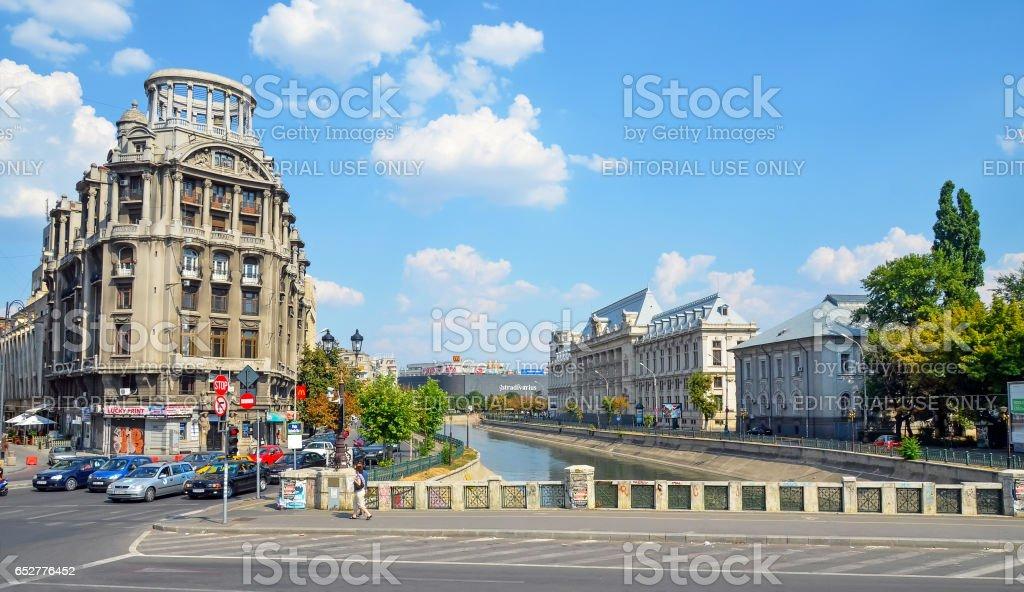 BUCHAREST, ROMANIA - AUGUST 4, 2012: Visiting The shore of Dambovita River. stock photo