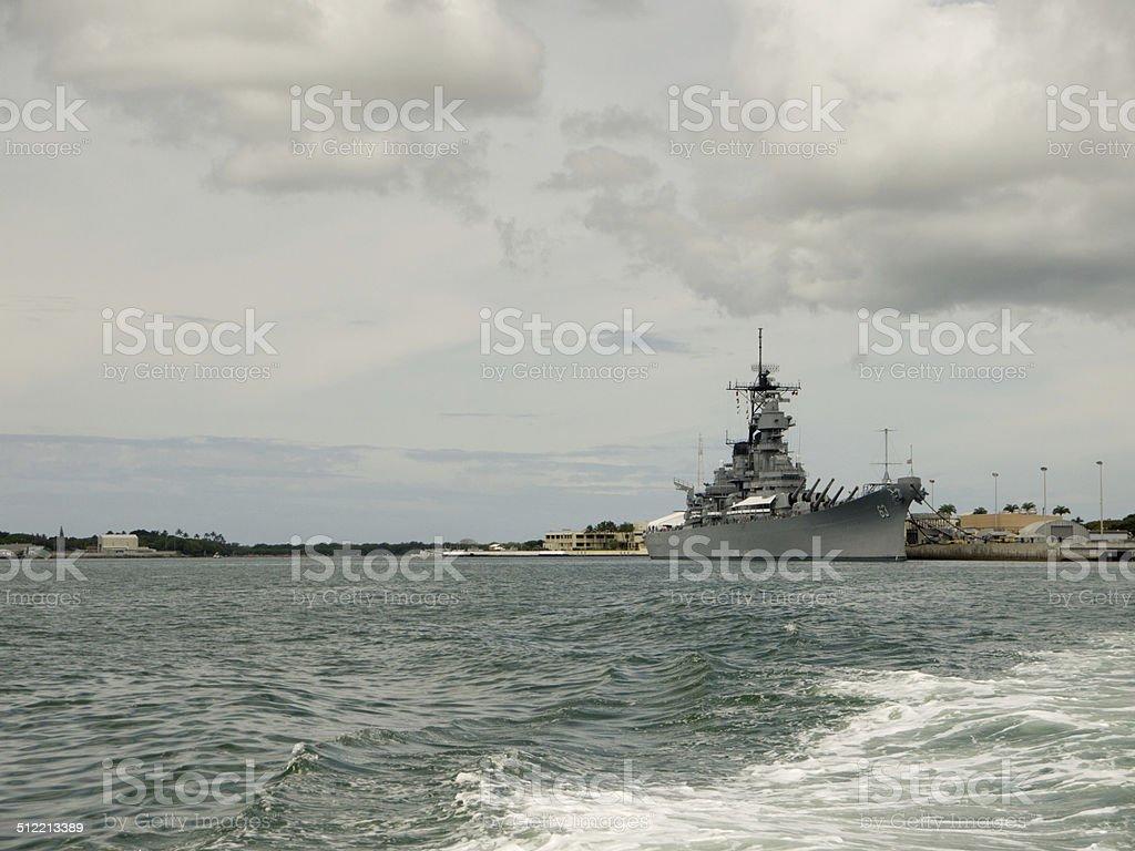 Visiting USS Missouri in Pearl Harbor stock photo