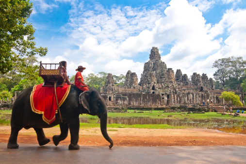 istock Visitor at the bayon in Angkor 480447945