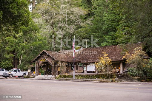 December 15, 2017 Big Basin Redwoods State Park / CA / USA - The Visitor Center building located at the park entrance; August 20, 2020 Update: The building has been destroyed by the current wildfires burning in San Francisco Bay Area (CZU Lightning Complex fires)