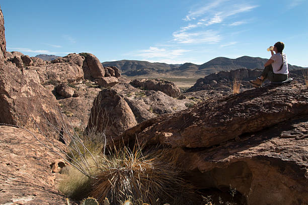 Visitor cools off in Hueco Tanks State Park Texas stock photo
