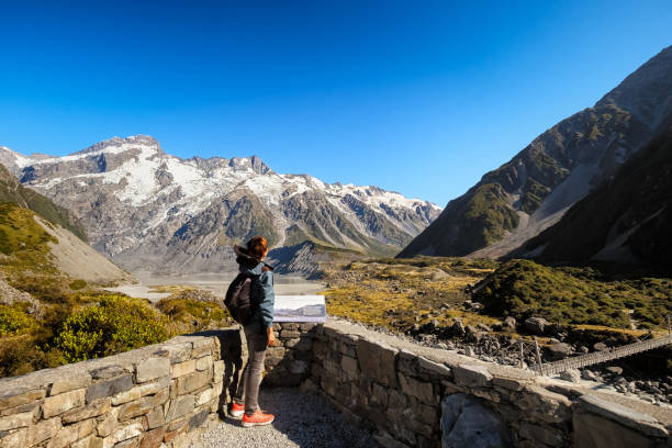 Visitor pointing at the sky at Mount Cook, Canterbury in New Zealand stock photo