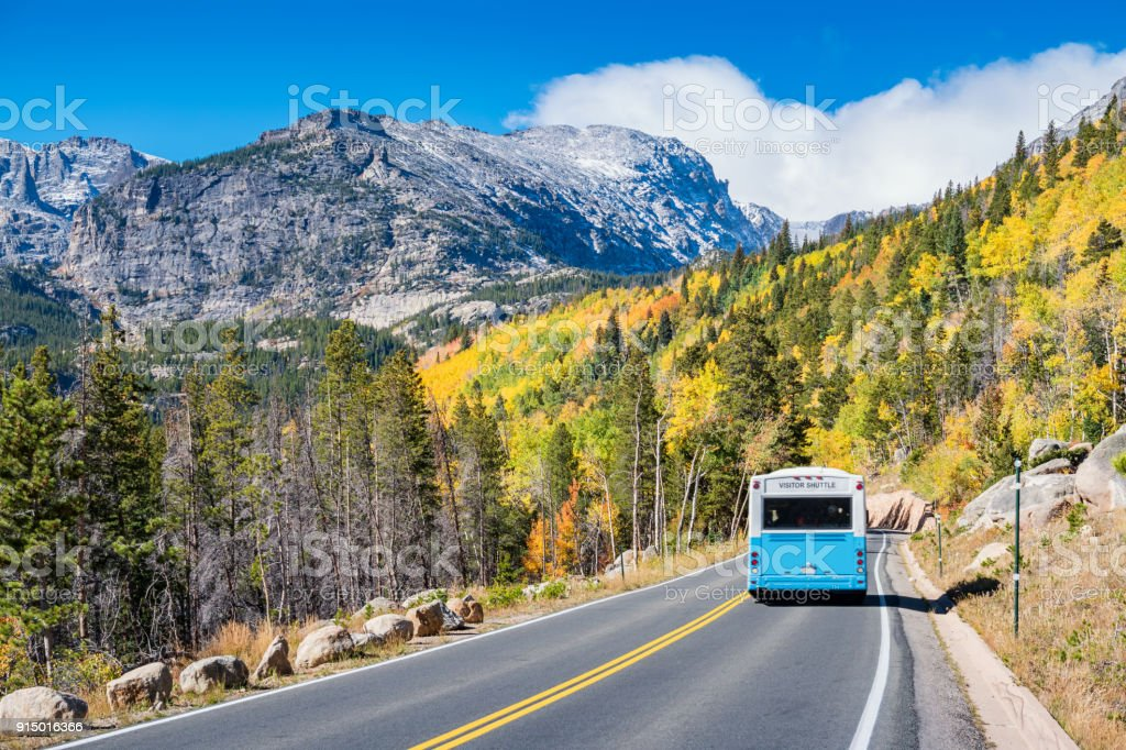 Visitor shuttle in Rocky Mountains National Park Colorado USA stock photo