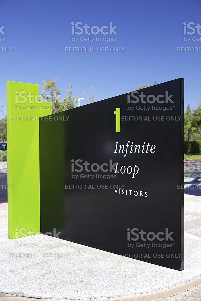 Visitor welcome sign at Apple, Inc. in Cupertino, CA royalty-free stock photo