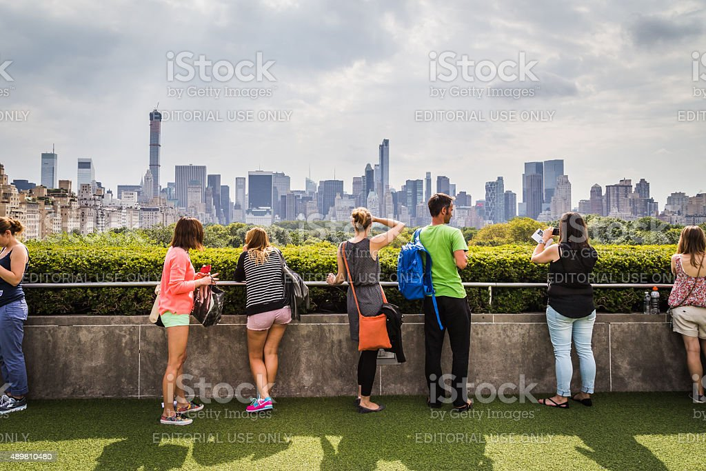 Visitors admire the view from the Metropolitan Museum roof garden stock photo