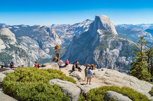 Visitors at Glacier Point in Yosemite National Park California USA
